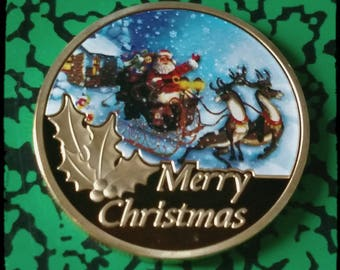 Merry Christmas Santa Reindeer Colorized Art Coin