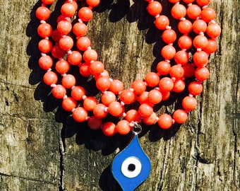 Orange Jade Mala with 108 semiprecius gemstones