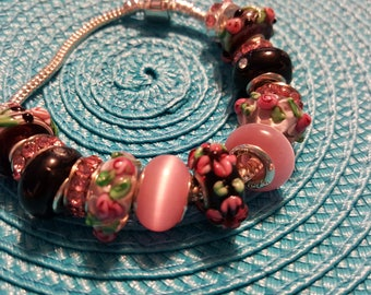 Bracelet pink black rosebuds