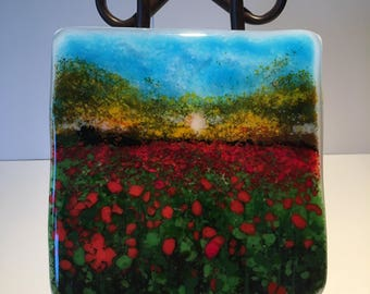 Sunrise Field of Poppies- Fused Glass Panel