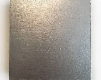 Minimalist Square -Silver-,  Acrylic Painting on Wood Panel