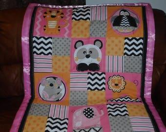 Pink Jungle baby blanket