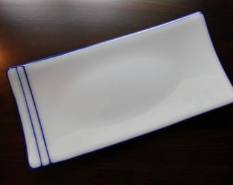 Blue and white rectangular 5x10 fused glass sushi dish or decorative plate