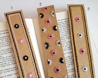 Handmade Bookmarks, Hand-Embroidered Flower Bookmarks