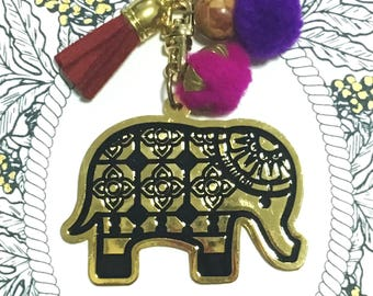 Elephant shape brass keychain with tassel and pompoms