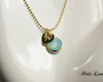 Faceted glass turquoise vintag chain