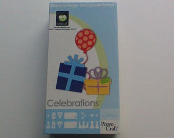 Celebration Cricut Cartridge, Complete In Box, Provo Craft Die Cuts Scrapbook Supplies Cards, Gift Tags, Birthday Party, New Baby, New Years