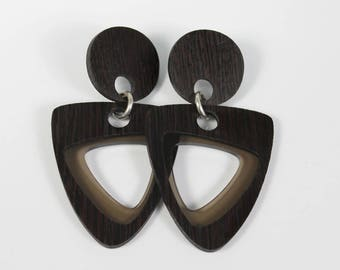 Wenge Hardwood and Smokey Gray Earrings