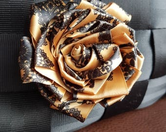 Gold and black lace ribbon rosette for Harveys bag