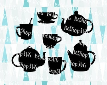 Coffee SVG, Coffee bundle SVG, Coffeepot SVG, Teapot Svg, Teacup Svg, Coffeecup Svg, Tea Svg, Instant download, Eps - Dxf - Png - Svg