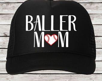 Baller Mom Baseball Mom Trucker Cap, Baller Mom Baseball Cap
