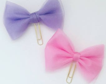 Tule bow paperclips