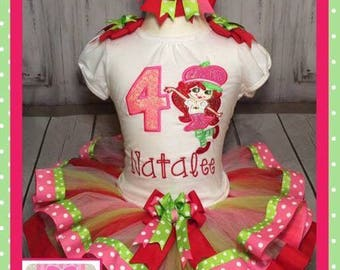 Strawberry shortcake tutu, strawberry shortcake birthday set, strawberry shortcake, strawberry shortcake embroidered shirt,