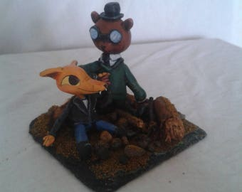 "Night in the Woods fanart: 4""x4"" Gregg and Angus - cute shipping scene diorama."