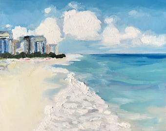 Oil Seascape painting depicting South Beach, Miami; original landscape, blue wall art