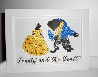 Disney's Beauty and the Beast Inspired Button Art