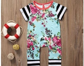 Summer Floral Baby Romper, Romper, one piece, jumpsuit, harem