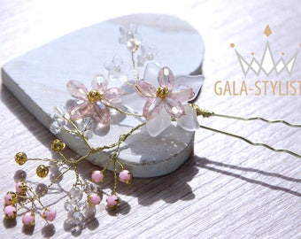 Hair pin flower gold, pink, white, delicate and tender-