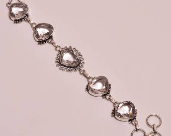 "White topaz gemstone handmade silver bracelet 7""-8"""