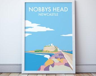 Newcastle Nobbys Head Vintage Style Seaside Travel Print