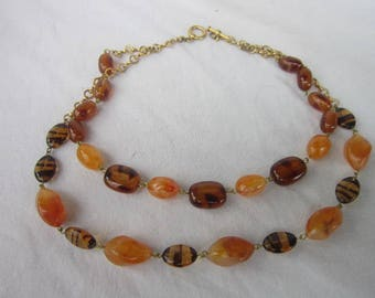 Vintage Double Strand Faux Amber Fancy Ladies Necklace