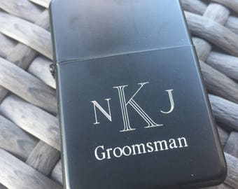 Set of 6 Engraved Lighter. Gift For Groomsmen. Personalized Groomsmen Gifts. Groomsman. Will you be my Groomsman? Cigar Lighters.