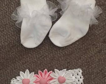 White Hairbow and sock sets