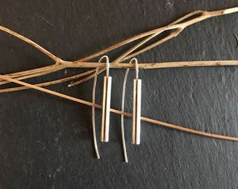 Earrings; Chimes. Contemporary, Handmade Sterling Silver