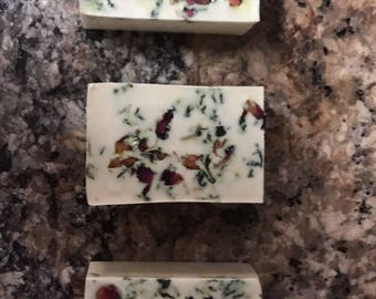 Sandalwood Rose oatmeal soap with Rose petals
