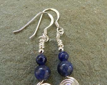Sodalite Earrings, Blue Earrings, Blue Gemstone Jewllery, Birthday Gift, Semi Precious Stone, Gift for Her.