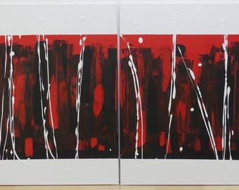 """Abstract acryl painting on canvas - diptychon á 23.62x31.5"""" each"""