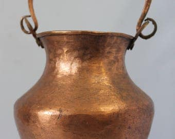 Copper handled Pot Cauldron Planter