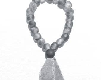 Grey Recycled Glass Garland with Essential Oil Diffusing Bead