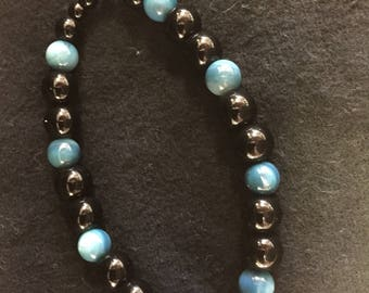 Blue Rivershell and Black Essential Oil Diffuser Bracelet