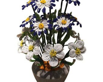 vase of flowers-flowers-ancient beads-beads-flower arrangement-beaded flowers-glass flowers-murano glass