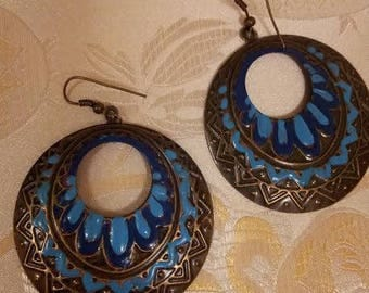 Hand painted copper earrings