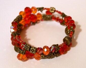 Spiral bracelet - summer fire