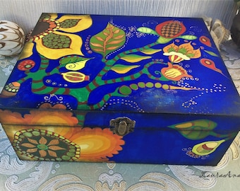Large wooden box decorated with flowers, hand painted