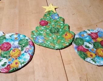Christmas, hot pads, ornaments, tree, festive