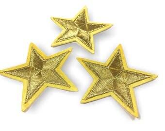 3 Stern Bügelbilder, golden Patches, ca. 55mm