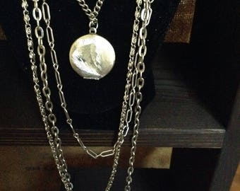 Multi-strand Silver Chains with Locket