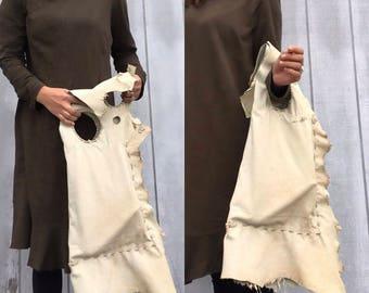 Raw Bag oversized tattered edge tote bag purse leather original handmade