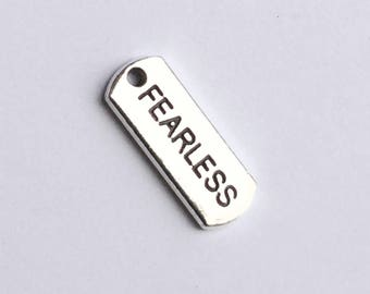 Antiqued Silver Fearless Word Charms 21 x 8mm