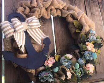 Nautical Door Wreath Summer Spring Beach Style Artificial Flowers Shells Burlap Anchor