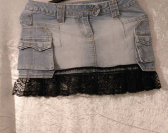 upcycled denim skirt size 10 with black lace hemline