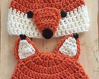 Newborn Baby Twin Fox Hats