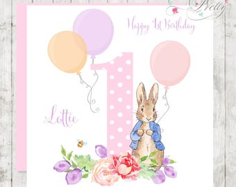 Peter Rabbit pink personalised girls birthday card with Balloons