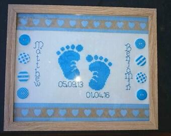 Baby feet cross stitch