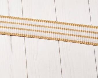 Grosgrain, weave, stripes, beige / white 10mm