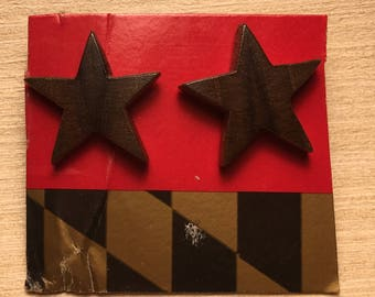 Star Shaped wood earrings